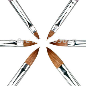 6PCS / SET 2#/4#/6#/8#/10#12# Колинский Соболь кисть акриловые Nail Art Builder кисть дизайн для акриловых ногтей кисти набор
