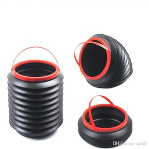 Recipienti di rifiuti telescopici di plastica rotondi neri del contenitore magico pieghevole per il secchio di stoccaggio facile da usare della casa dell'ufficio 5ry ff