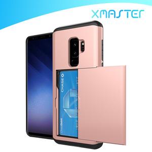 SGP Slide Card Case 2 en 1 Slot Wallet ID Double Couche Antichoc Protecteur Couverture de Téléphone Pour iPhone X 8 plus Samsung S9