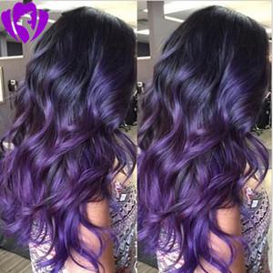 Hotsell cuerpo morado onda sintética frente de encaje peluca delantera ombre peluca de encaje aspecto natural púrpura fibra resistente al calor cabello para mujeres blancas y negras