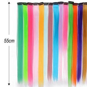 Клип в Pure Color Hair Extensions Красный Розовый Фиолетовый 19 цветов 55 см Длинные прямые Синтетический жаропрочных волокна