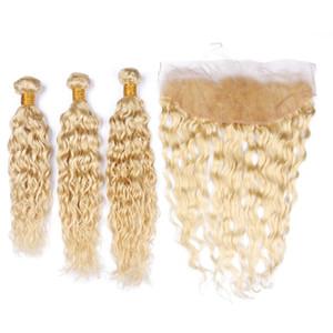 Влажные и Волнистые бразильские Блонд Пучки волос человека с Фронтальная волна воды # 613 Blonde 13x4 полный шнурок Фронтальная Застежка с переплетений 4шт Лот