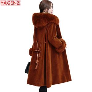 YAGENZ Novo produto Brasão Mulheres Faux Fur Jacket Top qualidade Inverno Mulheres Senhora nova Fur colarinho seção com capuz de lã casaco comprido 697