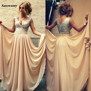 Real Image Sequins Chiffon Prom Dresses V Neck Champagne Sexy Bridesmaid Formal Evening Gowns 2021 Cheap
