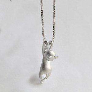 Hot Cute Frauen Silber Überzogene Halskette Tiny Cute Cat Anhänger Halskette für Frauen Dame Mädchen Schmuck Beste Geschenk