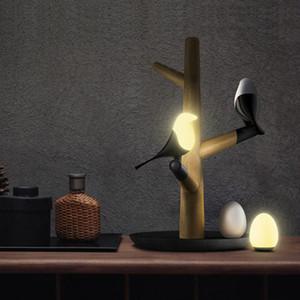 JESS Estilo Chinês Pássaro de Sorte LEVOU Night Table Lamp Base de Madeira Sensor de Movimento Inteligente Luminaria Sala de estar Quarto Mesa de Luz