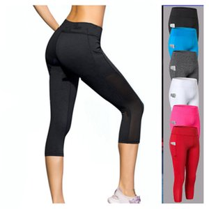High Waist 3 4 Mesh Yoga Pants Women Elastic Mesh Fitness Leggings Sports Tights Slim Running Gym Trousers Pocket Yoga Clothing Plus Size