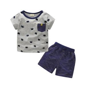 Menino verão INS Whale Hat Stripe Terno Novas Crianças Dinossauro Dos Desenhos Animados Ins T-shirt de Manga Curta + shorts 2 Pcs Terno Roupa Do Bebê