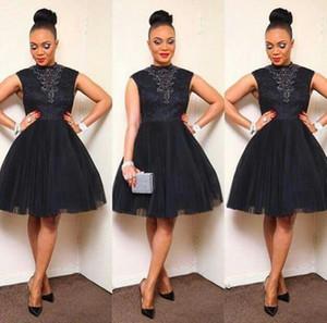 ASO EBI Style Cocktail Dress African Black Tulle Encace Party 2019 Nuevos pliegues Pleats Vestidos Arabianos Vestidos