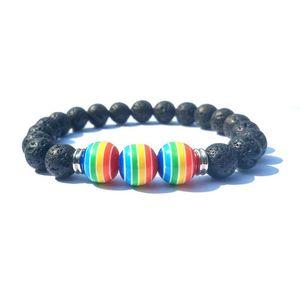 10MM do arco-íris listra Bola 8 milímetros Preto Lava Pedra pulseira contas DIY Essential Oil Difusor homens e mulheres pulseira estiramento Yoga Jewelry
