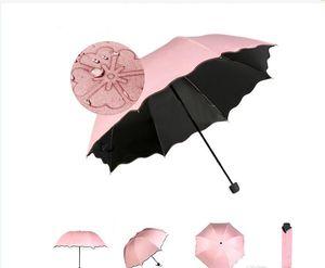Волшебный цветок цветение, когда дождь/вода падение SunRain зонтик ветрозащитный компактный легкий цвет ультрафиолетового доказательство зонтики 5 цветов