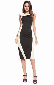 2018New 최고 품질 뜨거운 스타일 우아한 여성의 작업 드레스 민소매 패널 bodycon 연필 드레스 패널 슬림 섹시한 검은 드레스 S-2XL