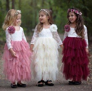 2018 nuevos vestidos de niña de las flores de la playa blanco marfil boho primer vestido de comunión para la niña de manga larga con cuello en v una línea de niños baratos vestido de novia