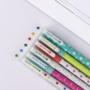 Caneta de escrita Papelaria Coreano Bonito Dos Desenhos Animados Caneta Gel de Cor Criativa 6 Cores Canetas Pretas Estrela 6 Conjuntos de Ferramentas Da Escola Por Atacado