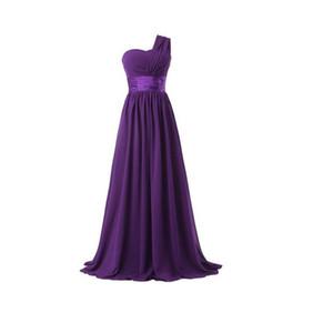 Eine Schulter Chiffon Lange Brautjungfernkleider Lila Rot Königsblau Hochzeitsgast Kleid damas de honor vestidos