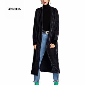 2018 Autumn Winter Velour Women Trench Coat Long Embprodery Outwear Women's Split Coats