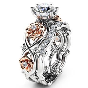 Argento placcato 2pcs Set anelli di nozze di cristallo Lovers Regali anelli di strass per le donne Anello di fiori rosa SJ