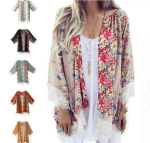 50 adet Kadınlar Dantel Püskül Çiçek desen Şal Kimono Hırka Tarzı Rahat Tığ Dantel Şifon Coat Kapak Up Bluz pelerin M128