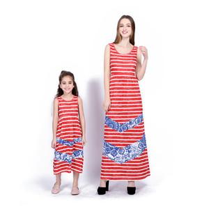 2018 Anne ve Kızı Kıyafetler Kırmızı ve Beyaz Çizgili Denim Splice Uzun Elbise Yaz Anne Kızı Eşleştirme Elbiseler Kız Elbise