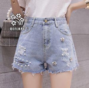 Shorts en denim Pantalons larges pour femmes Vêtements Jeans pour femmes Vêtements de mode décontractés Pantalons de cowboy Shorts en jean Wathet Hole Ripped A5118 #
