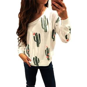 선인장 인쇄 풀오버 긴 소매 선인장 디자인 셔츠 여성 열대 패턴 2018 새로운 스타일의 패션 레 글란 저지