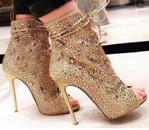 Bling Bling Peep Toe Stiletto İnce Yüksek topuklu Çizmeler Peep Toe Kristal Sandalet Çizmeler Glitter Rhinestone Dantel-up Kısa Ayak Bileği Patik