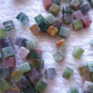 Perles en vrac Cube naturel Agate multicolore 4/6 mm carré avec A travers le trou pour Gemstones Bijoux Faire 100pcs / lot bricolage