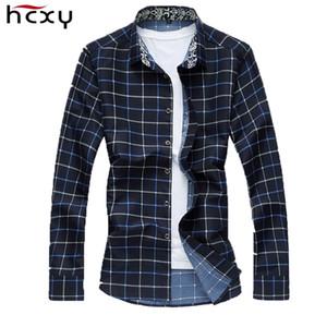 HCXY Marque 2018 Automne Hommes À Carreaux Casual Chemises 7XL Coton chemise de Haute Qualité pour hommes à manches longues Slim Fit Dress homme Chemises