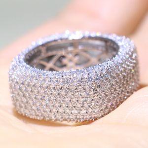 Dimensioni 5-10 monili di lusso argento 925 Fill pavimenta Mirco completa zaffiro bianco diamante della CZ Promise Ring Wedding Ring delle donne della fascia per gli amanti