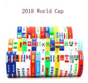 Copa Mundial de Rusia 2018 pulseras deportivas Muchos países banderas nacionales pulsera de silicona para los fanáticos del fútbol de fútbol Pulsera de silicona de recuerdo