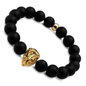 Elástico Negro Scrub Beads Bracelet Bangle Con Gold Lion Head Frosted Charm Piedra Natural Mejor Regalo Para Hombres Mujeres Joyería