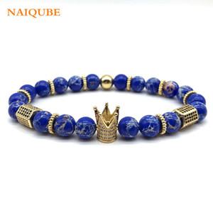 NAIQUBE 2018 Hot Fashion Cube Charm Crown Armband-Mann-Stein-Korn-Armband-Armbänder Homme Schmuck