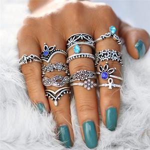 10set retrò fiore Infinite snodo anelli per il regalo di Natale delle donne annata geometrica del modello anelli di cristallo insieme del partito Bohemian gioielli