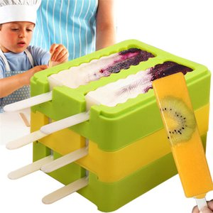 Hot sale household 4 colors Ice Cream Molds Popsicle Molds Ice Cream Tools Summer DIY Ice making mould T3I0271