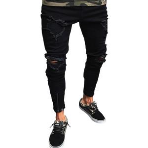 Mens New Fashion Lange Jeanshose Schwarz Biker Ripped Pencil Jeans Löcher Bein Reißverschluss Gefälschte Designer Jeans