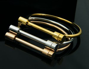 Top Quality Never Fade 316L Stainless Steel Bangles Shackle Screw Bracelet Cuff Bangle For Women Love Bracelet