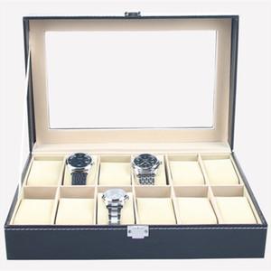 Organisateur de cas d'affichage de boîte de montre en cuir de Faux 12 boîtes de rangement de bijoux de fentes