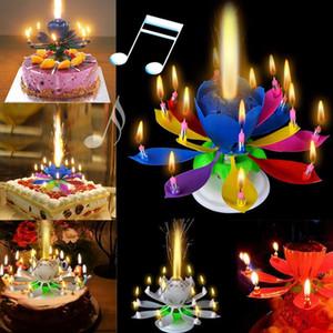 Popüler 1 ADET Yeni Sıcak Satış Yenilik Mum (Kek Topper Doğum Günü Lotus Çiçek Dekorasyon Dönen Çift Katmanlı