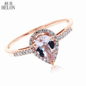 HELON 5x7mm Pear Morganite Pave Anillo de Diamantes Naturales Sólido 10 K Oro Rosa Compromiso de Boda Diamantes de Piedras Preciosas Joyería Fina S18101002