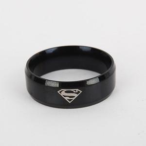 Comércio exterior europeu e americano quente aço inoxidável superman anel clássico areia anel padrão pode ser personalizado