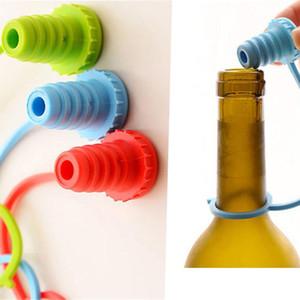 Anti-verlorene Silikon-Flaschen-Stopper-hängende Taste Rotwein-Bier-Kappen-Stecker-Weinstopper-Stabwerkzeuge FFA335 500PCS