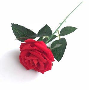 Nova Simulação de Flanela Rose Flor Única Filial Falso Rose Flor De Seda Artificial Presente Do Dia Dos Namorados Rose Flor