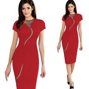 Vendita calda Nuovo Slim Fit guaina Mini abiti da donna Mesh Stitch Black Bodycon Club Party Sexy Dress