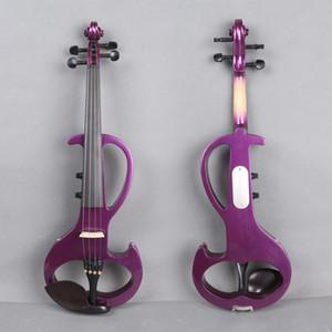 새로운 4/4 전기 바이올린 강력한 사운드 빅 잭 퍼플 솔리드 우드 무료 보우 케이스
