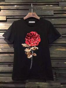Moda Gül Kadınlar Için Işlemeli T-Shirt Kısa Kollu T Gömlek Tops Boyut S M L Kadın Tshirt Giyim Bayanlar