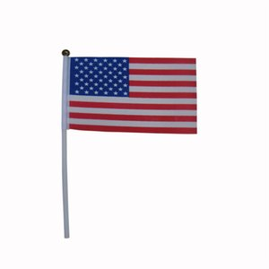 Free shipping 5.5*8.2 inches US flag,100% Polyester USA US Flag 14*21cm American hand Flag 100pcs lot