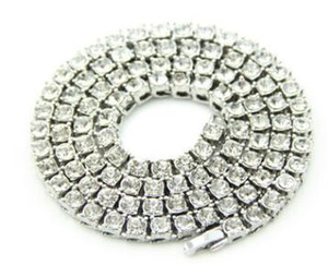 Wholesale-Hip Hop Gold Chain 1 Row Simulated Diamond Hip-Hop Necklace Chain 24inch --30inch Mens Gold Tone Iced Out Punk Necklace
