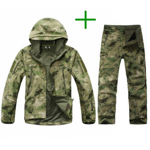 TAD Tactical Men Army Hunting Hiking Fishing Esplora Suit Suit Camouflage Shark Skin Giacca militare impermeabile con cappuccio + pantaloni