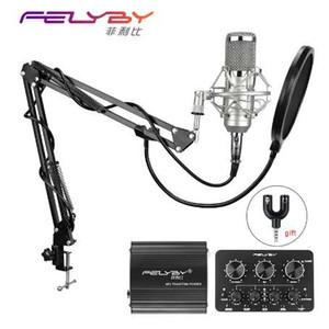 FELYBY bm 800 Microfone condensador profissional para estúdio de áudio de computador vocal Gravação de karaokê Mic Phantom power Placa de som