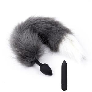 Silicona 10 Bullet Speed Vibrador Plug Anal Fox Tail Juguetes Sexuales Vibrador BDSM Productos Sexuales Juguete erótico para Hombres Mujeres Parejas